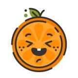 Emoji - cieszy się pomarańcze z szczęśliwym uśmiechem Odosobniony wektor royalty ilustracja