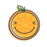 Emoji - cieszy się pomarańcze z szczęśliwym uśmiechem Odosobniony wektor ilustracja wektor