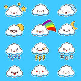 Emoji clouds vector. Cute smily clouds with faces vector set. Cartoon funny emoticon. Cute smily clouds with faces vector set kawaii.  on blue background Royalty Free Stock Image