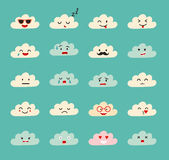 Emoji clouds vector. Cute smily clouds with faces vector set. Cartoon funny emoticon. Flat cartoon style stickers.  on blue sky background Stock Image