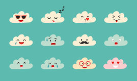 Emoji clouds vector Stock Images