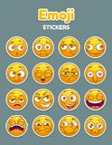Emoji collection. Funny comic cartoon yellow smiley faces set. Vector round emoticon stickers stock illustration