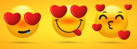 The emoji collection that shows emotion is falling in love, obsessed.  vector illustration
