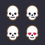 Emoji con i crani Immagini Stock Libere da Diritti