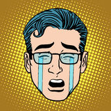 Emoji crying sadness man face icon symbol Stock Images