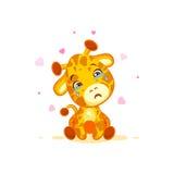 Emoji crying tears character cartoon Giraffe miss you sad frustrated sticker emoticon. Vector Stock Illustration isolated Emoji crying tears character cartoon royalty free illustration