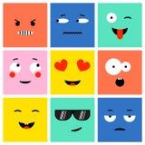 emoji cuadrado colorido ilustración del vector