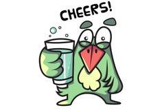 Emoji d'oiseau tenant un verre de boisson froide et indiquant des acclamations Images stock