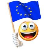 Emoji, das EU-Flagge, wellenartig bewegende Flagge des Emoticon von der Wiedergabe der Europäischen Gemeinschaft 3d hält Lizenzfreies Stockfoto