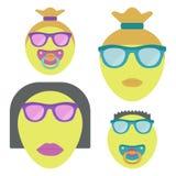Emoji de la familia con dos niños Pares alegres stock de ilustración