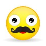 Emoji del bigote Emoción feliz Emoticon del papá Estilo de la historieta Icono de la sonrisa del ejemplo del vector Imagen de archivo