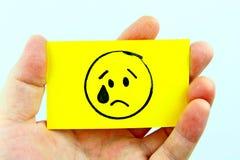 Emoji del dibujo de la mano con la cara del emoticon Imagen de archivo libre de regalías