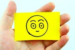 Emoji del dibujo de la mano con la cara del emoticon Fotografía de archivo libre de regalías