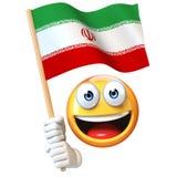 Emoji die Iraanse vlag houden, emoticon golvende nationale vlag van het 3d teruggeven van Iran Stock Foto