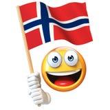 Emoji die Noorse vlag houden, emoticon golvende nationale vlag van het 3d teruggeven van Noorwegen Stock Afbeeldingen