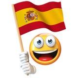 Emoji die Spaanse vlag houden, emoticon golvende nationale vlag van het 3d teruggeven van Spanje Stock Afbeeldingen