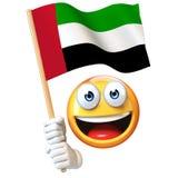 Emoji die Verenigde Arabische Emiraten houden markeert, emoticon het golven het nationale vlag 3d teruggeven Stock Afbeeldingen