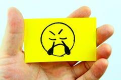 Emoji do desenho da mão com cara do emoticon Fotos de Stock