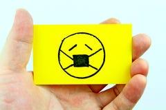 Emoji do desenho da mão com cara do emoticon Imagem de Stock