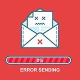 Emoji do envelope Projeto de caráter bebido da ilustração email liso com barra do progresso Processo de emissão do email Mensagem Foto de Stock Royalty Free