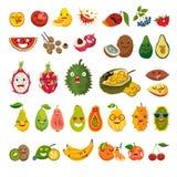 Emoji do grupo exótico do vetor dos frutos Fotos de Stock Royalty Free