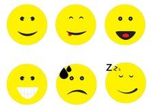Emoji Emoticon που τίθεται στο άσπρο υπόβαθρο Στοκ εικόνα με δικαίωμα ελεύθερης χρήσης