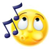 Emoji Emoticon die stemt gelukkig fluiten Royalty-vrije Stock Afbeeldingen