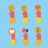 Emoji emoticon reactions color icon set. Social smile expression collection. Vector cartoon illustration of funny flat style emoji emoticon reactions color icon Stock Images