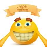 Emoji emoticon smiley twarzy żółty charakter robi selfie ilustracja wektor
