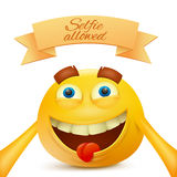 Emoji emoticon smiley yellow face character making selfie vector illustration