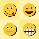 Emoji, emoticons icons on yellow background with black shadow Stock Photos