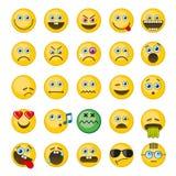 Emoji, emoticons vector geplaatste pictogrammen Royalty-vrije Stock Foto