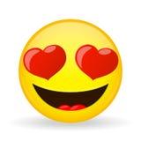 Emoji en amor Emoción de la felicidad Emoticon amorosamente sonriente Estilo de la historieta Icono de la sonrisa del ejemplo del Foto de archivo libre de regalías
