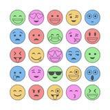 Emoji en emoticons Glimlachen, vlakke pictogrammen Reeks of inzameling van karakters Vector Royalty-vrije Stock Afbeeldingen