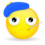 Emoji enfermo Emoción de la infelicidad Emoticon enfermo Foto de archivo libre de regalías