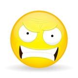 Emoji enojado Emoción de la cólera Emoticon que jura Estilo de la historieta Icono de la sonrisa del ejemplo del vector Fotos de archivo