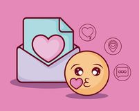 Online dating design. Emoji and envelope with online dating related icons over  pink background, colorful design. vector illustration Stock Photo