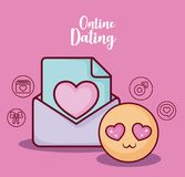 Online dating design. Emoji and envelope with online dating related icons over  pink background, colorful design. vector illustration Royalty Free Stock Photography