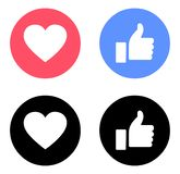 Emoji Facebook like and love icons color. Download Facebook like and love icons color Vector emoji facebook buttons vector illustration