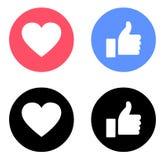Emoji Facebook som och förälskelsesymbolsfärg vektor illustrationer