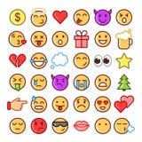 Emoji faces simple icons, thin line symbols. Stock Image
