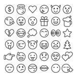 Emoji faces simple icons, thin line symbols. Royalty Free Stock Photos