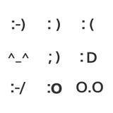 Emoji fait face à des symboles de sourire de symboles de clavier Image libre de droits