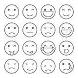 Emoji fait face aux icônes simples Photographie stock libre de droits