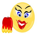 Emoji Female holding red healthy apple Stock Photos