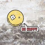 Emoji font face à la ligne souriante symbole d'icône illustration de concept heureux de signe pour votre conception mobile du log illustration libre de droits