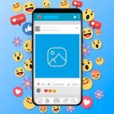 Emoji happy smiley design with mobile phone. 3d emotion concept illustration background. stock illustration
