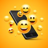 Emoji happy smiley design with mobile phone. 3d emotion concept illustration royalty free illustration