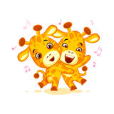 Emoji have date let dance music character cartoon friends Giraffe sticker emoticon Stock Images