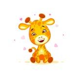 Emoji hello hi in love hearts you are cute character cartoon Giraffe sticker emoticon. Vector Stock Illustration isolated Emoji hello hi in love hearts you are royalty free illustration